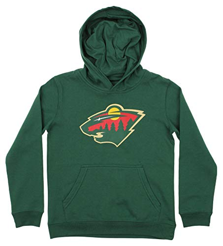 Outerstuff NHL Youth Boy's (8-20) Primary Logo Team Color Fleece Hoodie, Minnesota Wild Large(14-16)