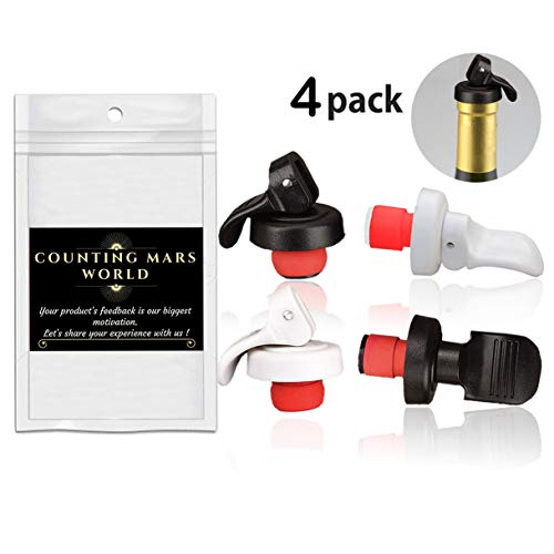 Counting Mars 4 Pcs Wine Bottle Stoppers Champagne Stoppers Wine Corks 1.24 Inch for Red Wine, Mineral Water, Soy, Oil and Vinegar