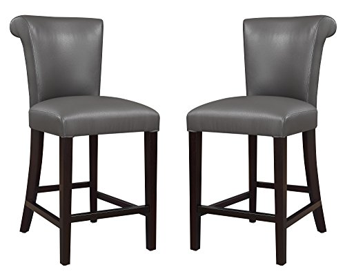 Emerald Home Furnishings Briar III Gray 24'' Bar Stool with Faux Leather Upholstery Set of Two ()