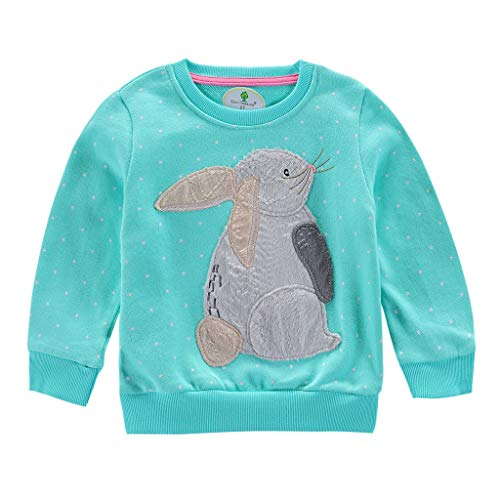 Jchen Little Kids Spring Cartoon Tops, (TM) Kids Baby Girl Boy Cute Animal Rabbit Cat Sweatshirt Pullover Tops for 1-7 Y (Age:4-5 Years, Green) -