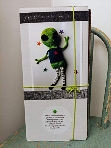 Knit your own Friendly Alien Kit DIY with pattern knitting needles, yarn, stuffing. Easy unique geek knitter gift, do it yourself craft -