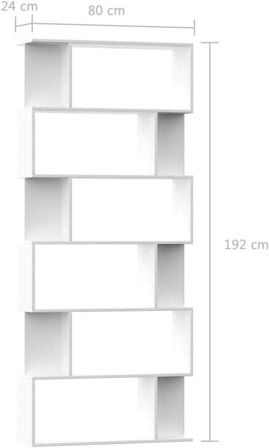 Festnight Libreria Divisorio in Truciolato,Librerie Moderne,Librerie Moderne Design,Mobili Soggiorno Moderni,Libreria da Muro,Mobile Soggiorno Moderno,Scaffale Bianco,Libreria Design 80x24x192 cm