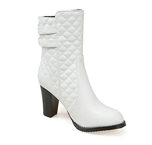 AdeeSu Ladies Chunky Heels Buckle Lattice Imitated Leather Boots White