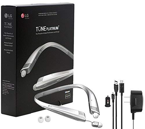 LG Tone Platinum HBS-1100 Bluetooth Headset Harman Kardon Wireless Stereo Headset with Car/Wall Charger & Charger Bag, Ear Gels (Certified Refurbished)