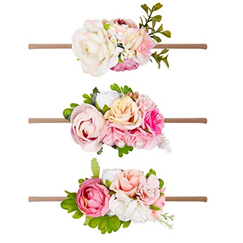 - Baby Girls Floral Headbands-Ncmama Nylon Flowers Crown Hairbow Bands For Newborn Infant Toddlers Pack of 3