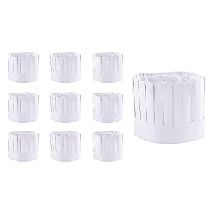 "Disposable 9"" Paper Chef Tall Hat Set for Home Kitchen, Food Restaurants, Classes (10 Pack)"