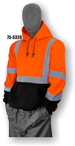 Majestic Glove 75-5328/X2 Sweatshirt with Hood, High Visibility, Class 3, XX-Large, Orange/Black
