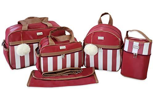 Kit de Bolsas Maternidade com Mochila Listrada Térmico Impermeável Cor: Vermelho