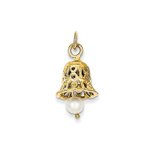 Best Designer Jewelry 14k Wedding Bell with FW Cultured Pearl Charm by Jewelry Brothers charms
