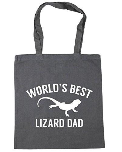 HippoWarehouse mundos mejor papá Lagarto bolsa de la compra bolsa de playa 42cm x38cm, 10litros gris grafito