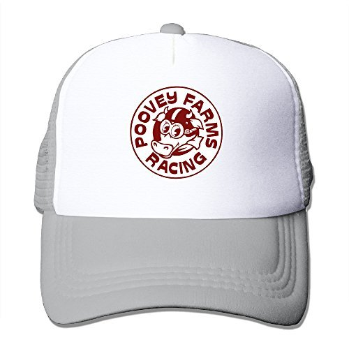 Poovey Farms Racing Adjustable Mesh Back Hat Ash One Size For Adult