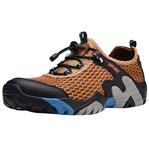 Hiking Shoes Men Casual Summer Breathable Lightweight Off-Road Sneaker Walking Trekking Training Shoes (US:7, Khaki)
