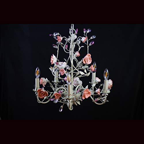(Goldenlipper 5-Lights Crystal Candles Ceramic Flower Style Chandelier, Modern Crystal Chandeliers,Chandelier Lighting Fixtures,Ceiling Light for Living Room Bedroom Hallway Restaurant)