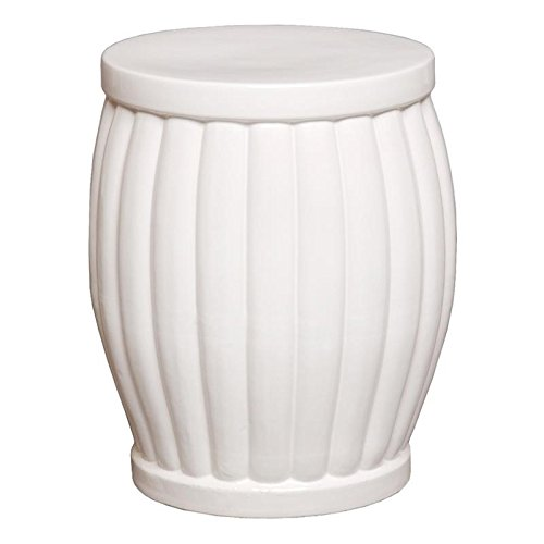 Emissary Attractive And Decorative Asian Ceramic White Fluted Garden (Emissary Accent)