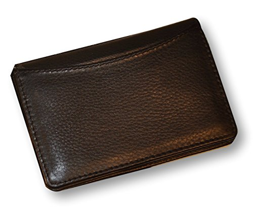 Budd Leather Calf Slim Gusseted Business Card Case, Black (120463-1) ()