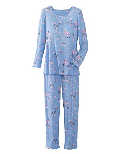 National Comfy Pointelle Knit Pajamas, Blue Floral, Petite Large
