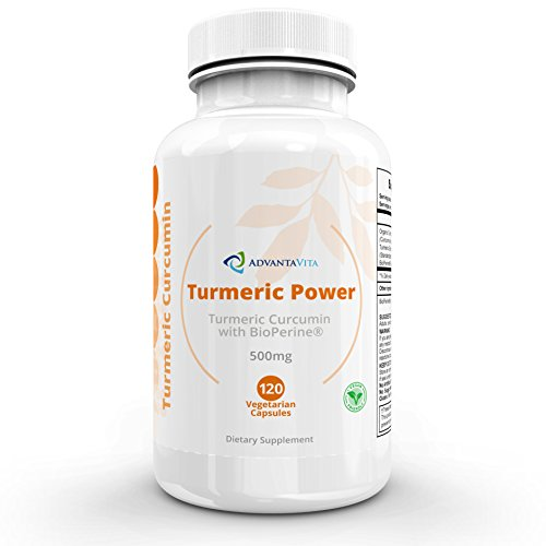 AdvantaVita Turmeric Curcumin with BioPerine – High Potency, High Absorption – Organic Complex, Additive Free – Natural Pain Relief – Joint Support – Anti-Inflammatory – 120 x 500mg Veggie Capsules