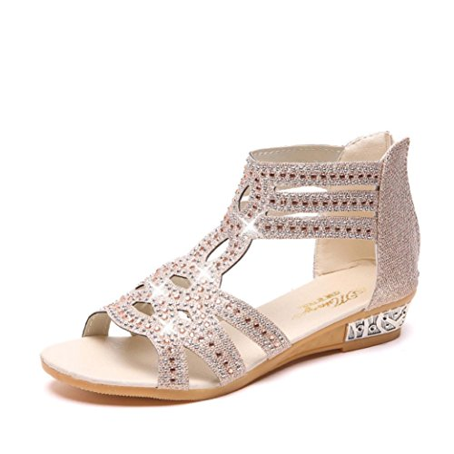 Lolittas Gold Diamante Sandals for Womens,Summer Boho Glitter Sparkly Bing Sequin Flat Wedge Platform Peep Toe Slingback Lace up Wide Fit Outdoor Shoes Size 2-7 Beige