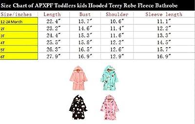 APXPF Toddlers Kids Hooded Terry Robe Fleece Bathrobe Children's Pajamas Sleepwear