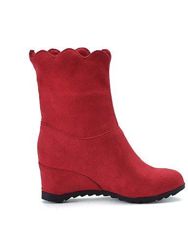 XZZ/ Damen-Stiefel-Kleid / Lässig / Party & Festivität-Vlies-Keilabsatz-Wedges / Rundeschuh / Modische Stiefel-Schwarz / Rot red-us8.5 / eu39 / uk6.5 / cn40