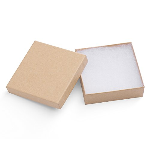 MESHA Jewelry Boxes 3.5x3.5x1 Inches Paper Gift Boxes Natural Cardboard Bracelet Boxes with Cotton Filled Pack of 20 (nature) ()
