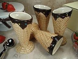 DLusso Designs CC786-4 Set Of 4 Ceramic Waffle Cone Ice CReam Cup, Pack Of - 2.