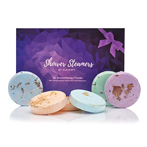 Cleverfy Shower Bombs Aromatherapy - Purple Box Set of [6] Shower Steamers With Essential Oils For Home Spa. Shower Melts a.k.a. Vaporizing Shower Tablets are Perfect for Sinus Relief Like Vapor Bath