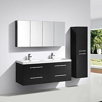 Meuble salle de bain design double vasque SIENA largeur 144 cm