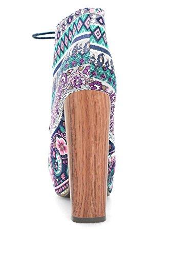 Alx Trend Chaussures femme Bottines à motifs à lacets Sims - Multi
