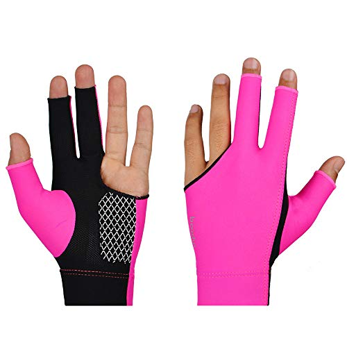 ❤️MChoice❤️Spandex Snooker Billiard Cue Glove Pool Left Hand Three Finger Accessory Cool (Hot Pink, M)