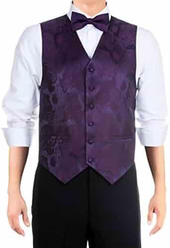 689912d8e8 Retreez Men's Paisley Textured Woven Vest with Tie, Bow Tie 3 Pieces Gift  Set