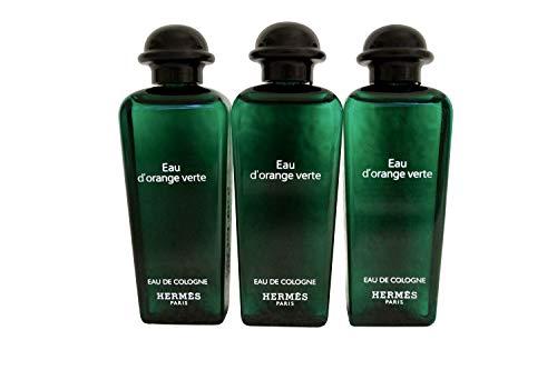 Three (3) Luxury Hermes Paris Eau d'Orange Verte Eau de Cologne Fragrance for Men and Women, Three 1 Ounce/30ML Plastic Splash Parfum Bottles