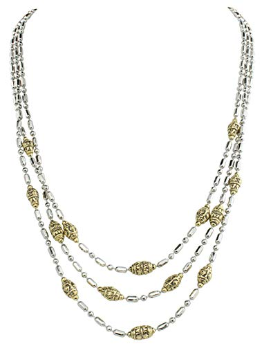 - Beaded Silver Gold Two Tone Station Necklace Triple Strand 17