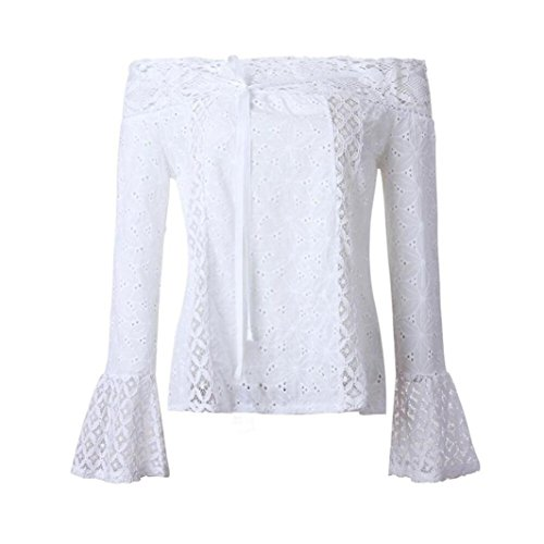 Chemisier Dentelle Sexy Fluide Reaso Denudee Chic Blanche paule Blanc Femme Blouse Shirt Longue Top Manche Chemise PWXdxgIxq