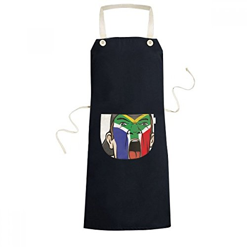 DIYthinker South Africa National Flag Facial Painting Makeup Mask Screaming Cap Cooking Kitchen Black Bib Aprons With Pocket for Women Men Chef Gifts by DIYthinker