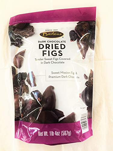 Bartons Dark Chocolate Dried Figs, 1 LB 4OZ, (One Pack) (Figs Chocolate)