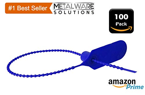 - 100 Pack - Metalwaware Solutions - Blue Pull Zip Tie Cable Tamper Security Safety Seal Fastener - Fire Extinguisher
