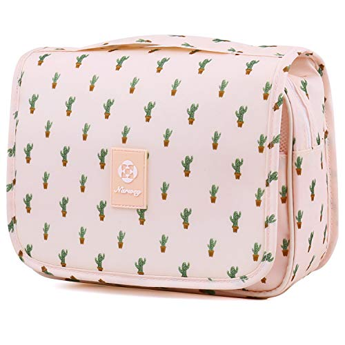 Hanging Travel Toiletry Bag Cosmetic Make up Organizer for Women and Girls Waterproof (Cactus) from Narwey