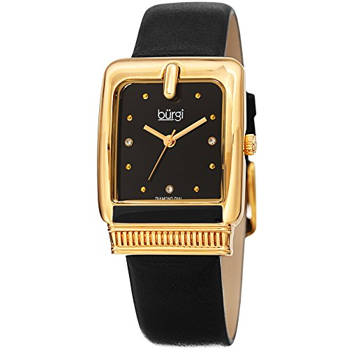 Burgi Designer Women's Watch - Black Genuine Leather Strap, Black Dial, Diamond Markers, Rectangle Gold Case Ladies Wristwatch - BUR192BK