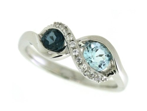 Sterling Silver London Blue Topaz and Sky Blue Topaz and Lab Created White Sapphire Ring, Size 7 (Ring Created Sapphire Lab)