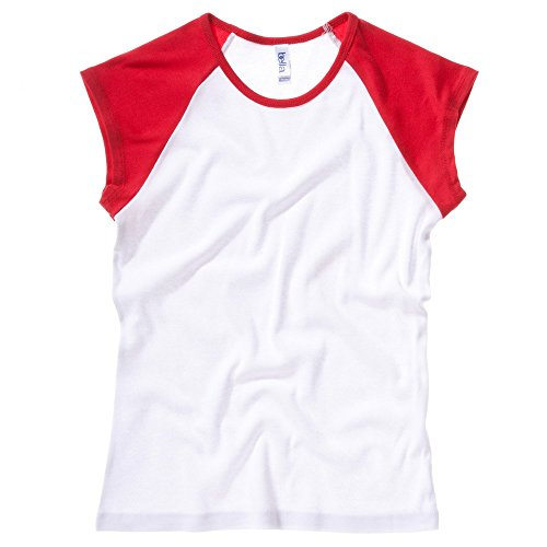 Bella+Canvas Baby rib cap sleeve contrast raglan t-shirt White / Red M