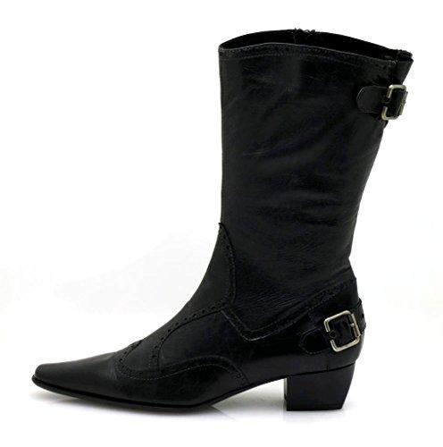 Lamica Kurzstiefel Cowboy-Stil Lederstiefelette schwarz 3154 edel