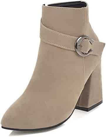 9aae758d5e5 Aisun Women s Fashion Buckle Strap Pointy Toe Short Boots High Block Heel  Ankle Booties with Zipper