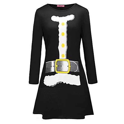 GOVOW Christmas Mini Dresses for Women Night Out Printed Letter Black Red Dress Ladies Long Sleeve Dress -