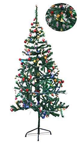 Zest 4 Giftz 5 Feet Christmas Tree with 2 Santa Cap & 45 Pcs Tree Decoration Set for Christmas Home Decor (Balls, Bells, Gifts, Drums, Candy Sticks & Santa Claus)