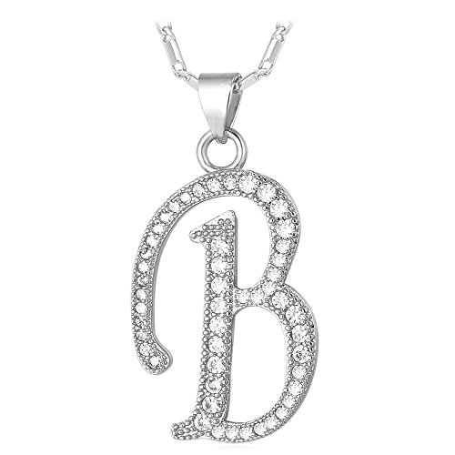 U7 Letter Necklace Teen Girls Women 18K Stamp Chain Platinum Plated Initial Pendant Cubic Zirconia Inlaid Personalized Necklaces (Letter B) -