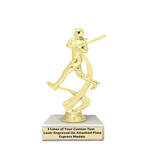 Express Medals 1st 2nd 3rd Place Winner Champion Girls Softball Trophies, Genuine Marble Base with Engraved Personalized Plates (20-Pack) 706 ()