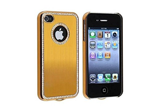 - Apple iPhone 4 4S 4G Gold Chrome Bling Diamond Gem Luxury Hard Case Cover Skin
