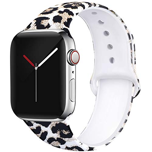 (EXCHAR Compatible with App le Watch Band Floral 44mm 42mm Women Soft Comfortable Silicone Replacement Sport Band for iWatch Series 4/3/2/1 with Cute and Durable Pattern Printing S/M Sexy Leopard 01)
