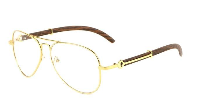 e7a841d874e Maverick Metal   Wood Aviator Eyeglasses   Clear Lens Sunglasses - Frames ( Gold   Cherry